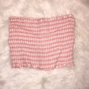 Pink and white checkered tube top!